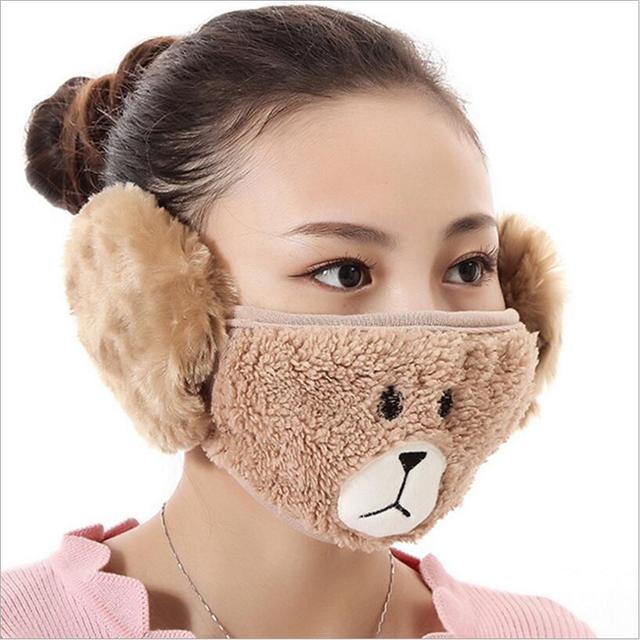 Cute bear design women Ear protective mouth mask Windproof earmuff anti dust winter masks girls Anti Haze Flu cotton Face masks 2