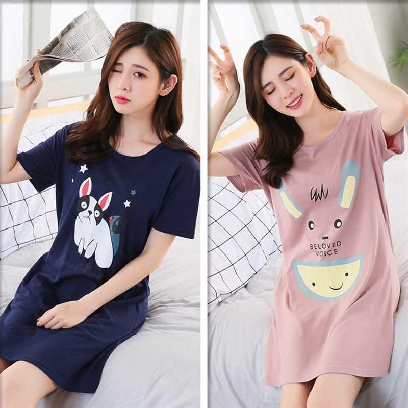 75ecada98e Summer Nightgown 100% Cotton Women Sleepwear Casual Lounge Dress sexy Nightwear  Cute Cartoon Night Shirts