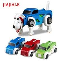 4 цвета Windup Автоматическая трансформация собака деформация Заводной автомобиль заводные игрушки для детей заводные рождественские подарки для детей