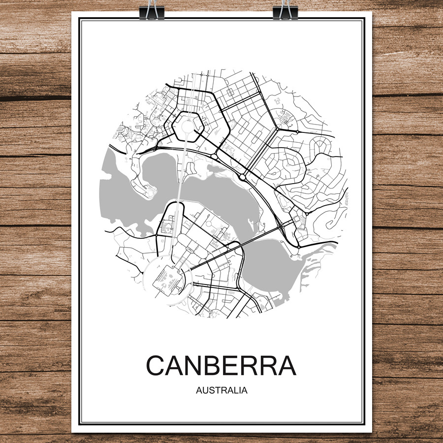 Map Canberra Australia.Us 1 99 Canberra Australia Famous World City Street Map Print Poster Abstract Coated Paper Cafe Bar Living Room Home Decor Wall Sticker In Wall