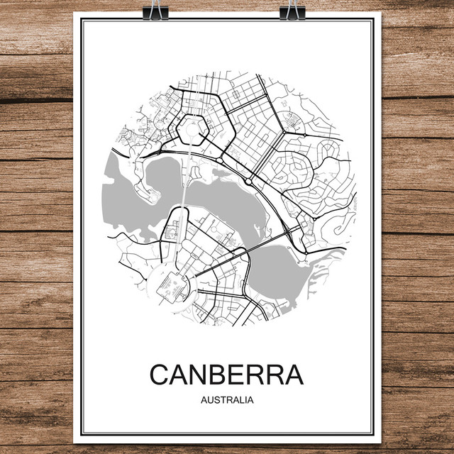 Canberra Australia Famous World City Street Map Print Poster