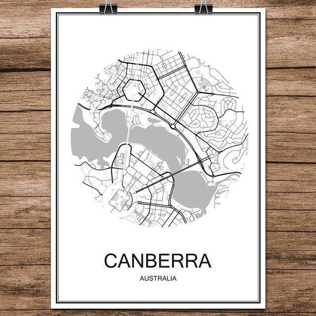 Australia Canberra Map.Canberra Australia Famous World City Street Map Print Poster