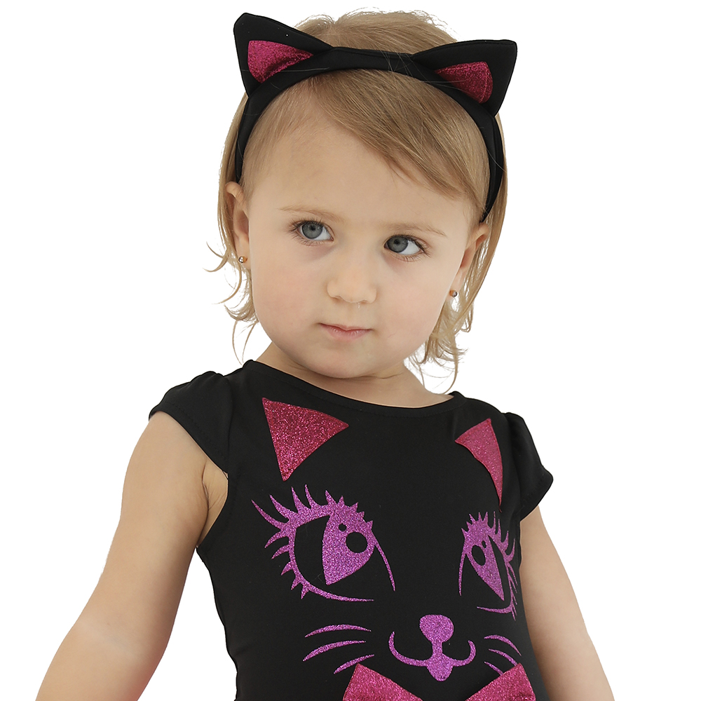 54fc7278b9cf Pink Kitty Cat Dress Baby Girl Halloween Costume for Kids Toddler Tutu Dress  Glitter Lace Infant Cosplay Birthday Party Clothes-in Girls Costumes from  ...