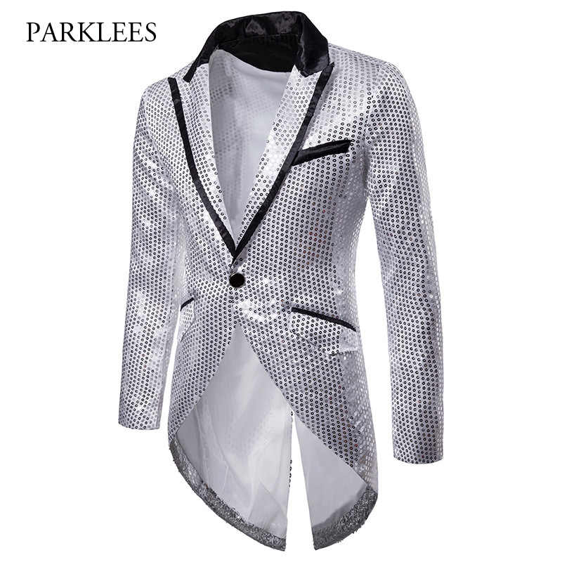 2e50392b Brand Tuxedo Blazer Men Shiny Silver Sequins Blazers Suit Jacket Mens Slim  Fit Glitter Party Stage