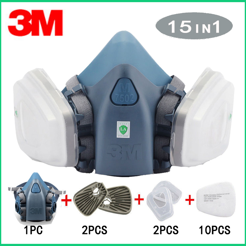 3M 7502 Gas mask 15 in 1 half Face Respiratork Spray Painting Protection Respirator Dust mask with 603 Converter3M 7502 Gas mask 15 in 1 half Face Respiratork Spray Painting Protection Respirator Dust mask with 603 Converter