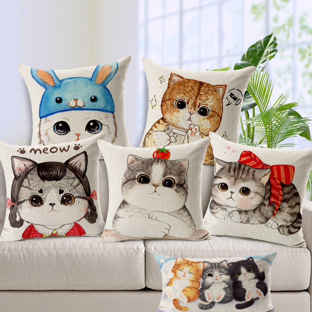 2016 Catoon Cats Flowers Cushion Cover Custom Cotton Linen