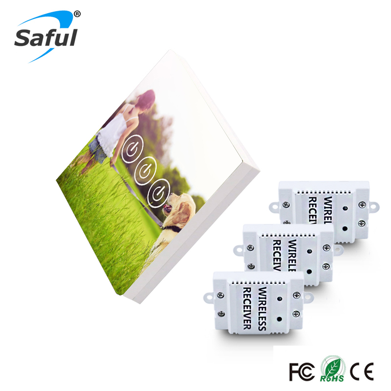 Saful Luxary Glass Panel 3 Gang 3 Way Wireless Touch Switch with Sunshine Customized DIY Painting Wall Light Touch Switch цена