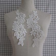 Colar de renda branco venise tecido de renda applique motivo com suprimentos blusa costura guarnições diy decote colar traje decoração