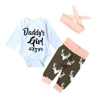 Kid Xmas Newborn Baby Girl Romper Bodysuit Pants Hairband Clothes Outfits Set L9152