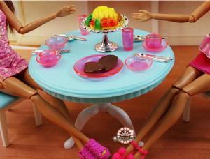 Image 5 - 送料無料女の子の誕生日プレゼントプレイセットのおもちゃ人形ダイニングエリア冷蔵庫プレイセット人形バービー人形用の家具