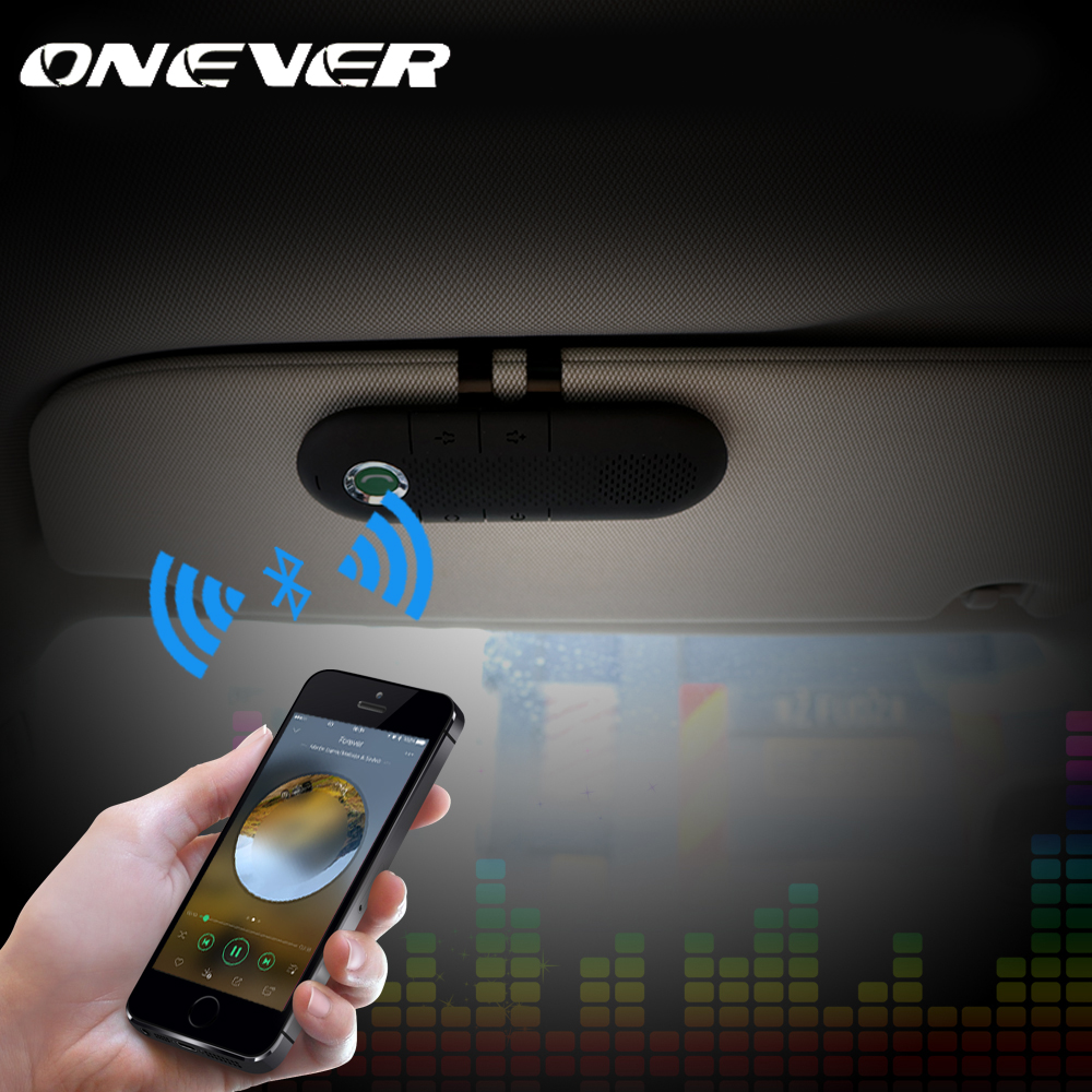 Onever Wireless Bluetooth Car Kit Speakerphone Handsfree Sunvisor In-Car Speaker music Player for SmartPhone with Car Charger