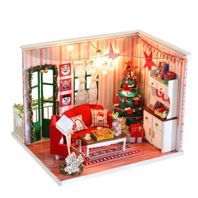 diy dollhouse assemble wooden house model miniature christmas eve dollhouse furniture bear kits kids children xmas