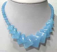 Xiuli 002744 Beautiful Natural Sky Blue Jade Round Square Gems Beads Necklace 17 AAA