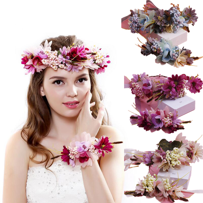 Women Boho Flower Floral Hairband Headband Crown Party Bride Wedding Beach JP