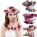 Envío rápido Mujeres pelo de La Boda accesorios de novia guirnalda de la flor diadema y Pulsera Kids Party Flor de La Corona de Corea niñas guirnaldas