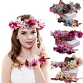 Fast shipping Women Wedding hair accessories bridal flower wreath headband & Wrist Kids Party Flower Crown Korean girls garlands