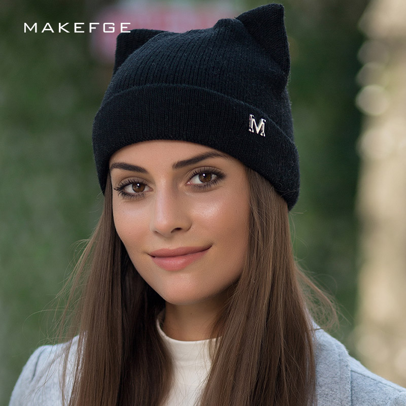 fd94c1ae789 New Cat Ears Solid Color Knit Beanies Hat High Quality Winter Woman Hat  Ladies Soft Cap