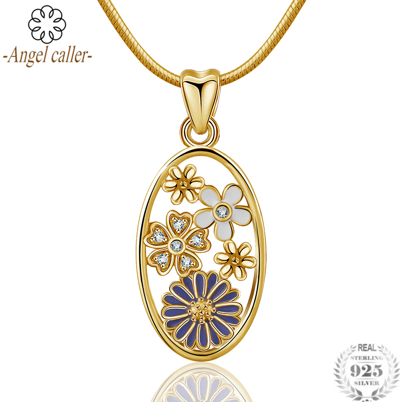 Angel Caller Genuine 925 Sterling Silver Daisy Flowers Pendant Necklaces Oval Necklace 18K Gold Plated Jewelry for Women GirlsAngel Caller Genuine 925 Sterling Silver Daisy Flowers Pendant Necklaces Oval Necklace 18K Gold Plated Jewelry for Women Girls