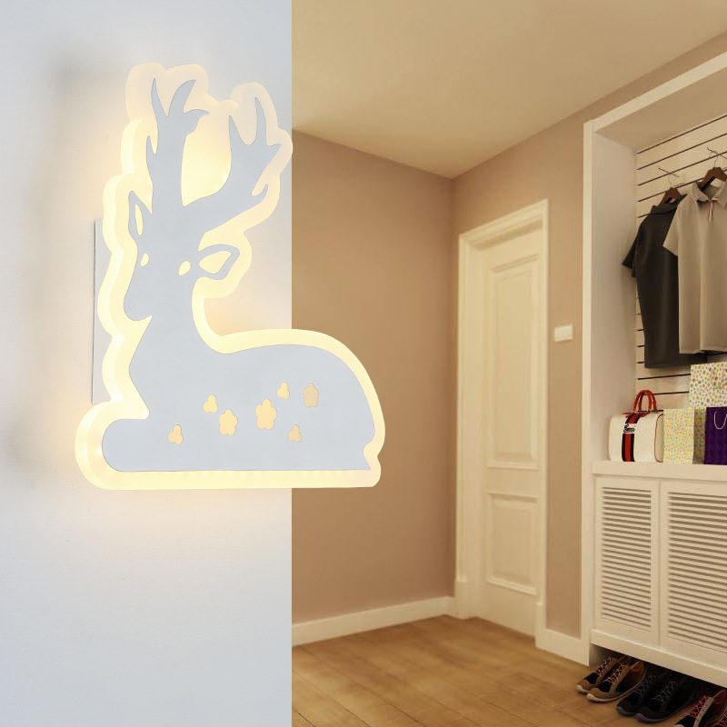 Simple Bedroom Bedside LED Wall Lamp Creative Aisle Lamp Living Room Deer Acrylic Lamp Children Room Light Free Shipping bedroom bedside wood led aisle corridor light northern europe simple living room wooden acrylic round wall lamp free shipping