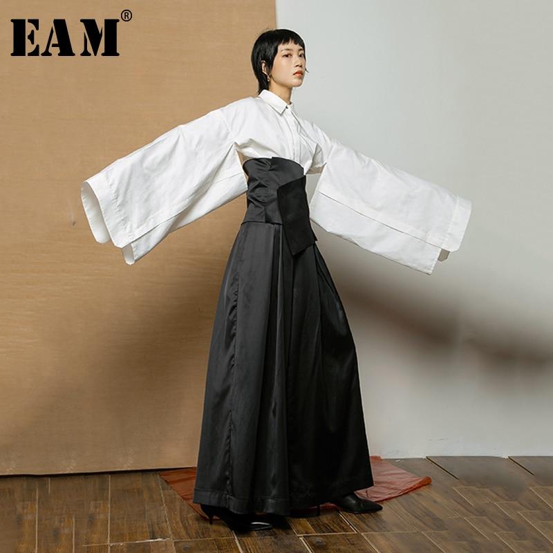 [EAM] 2019 New Autumn Winter Lapel Long Sleeve White Hollow Out Loose Irregular Big Sleeve Shirt Women Blouse Fashion Tide JX129