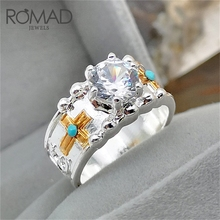 ROMAD Luxury Crystal Ring Big Stone Cubic Zirconia Rings For Men Boy Male Metal Gold Color Cross Zircon Wedding Jewelry R50