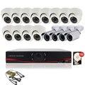 16ch CCTV AHD Cámaras DVR Sistema de Video Vigilancia HVR AVR 12 4 Kit Al Aire Libre hd 720 P Cámaras de Seguridad de interior de la Bóveda con 2 TB HDD