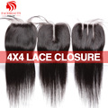 Lace closure branqueada knots encerramento 4*4 polegadas hetero virgem cabelo brasileiro tece brasileiro lace closure