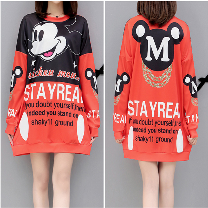 Minnie Mouse Costumes Womens cartoon print large size t-shirt skirt Summer Fashion Big red dress