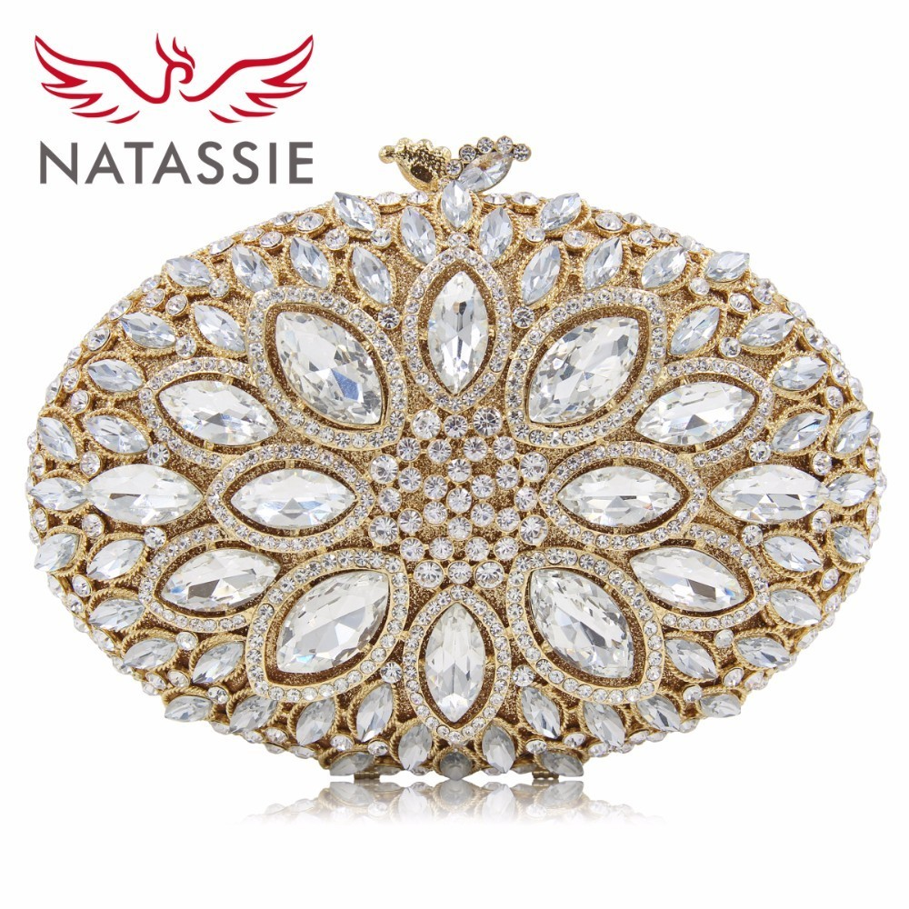 NATASSIE Women Crystal Stones Evening Bags Ladies Luxury Oval Shape Party Bag Female Wedding Clutches Purses White Gold natassie women evening bags ladies crystal wedding clutch bag female party clutches purses
