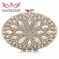 NATASSIE Women Crystal Stones Evening Bags Ladies Luxury Oval Shape Party Bag Female Wedding Clutches Purses White Gold