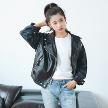 Faux Leather Jacket Ladies 2016 Vintage Plaid Sleeve Patchwork Motorcycle Jacket Women PU Leather Clothing jaqueta de couro 5195