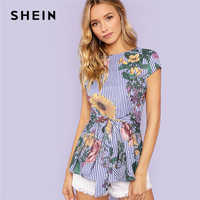 SHEIN Multicolor Vacation Boho Bohemian Beach Floral And Striped Print Belted Cap Sleeve Blouse Summer Women Going Out Shirt Top