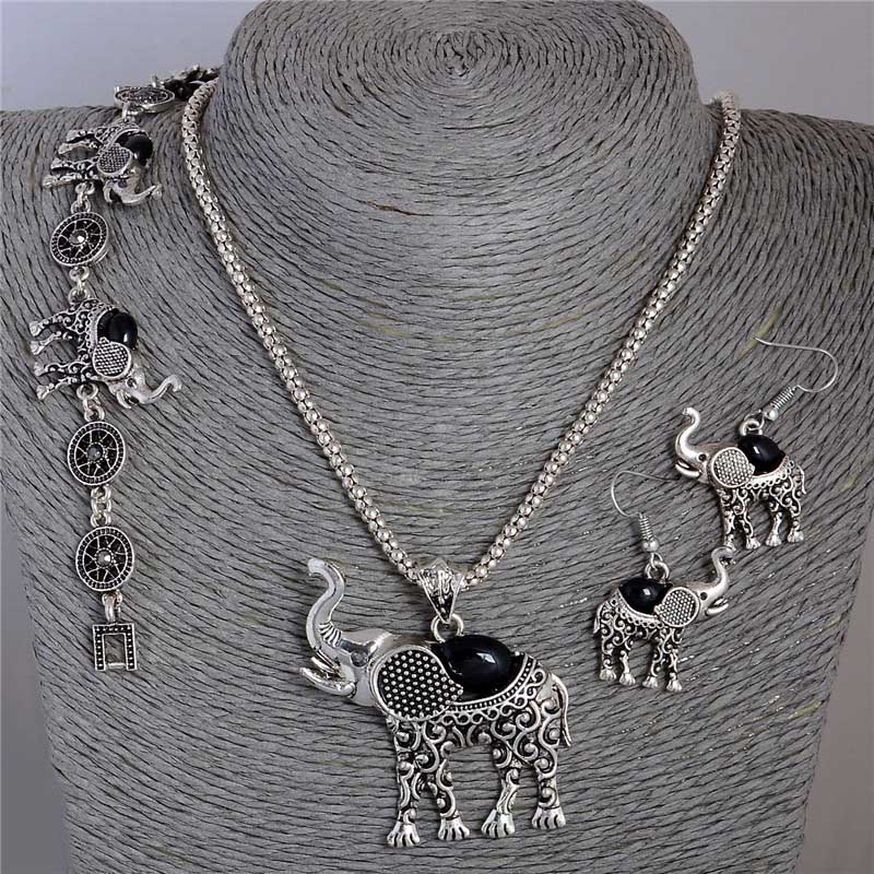 QCOOLJLY Hot Selling 1Set Lucky Elephant Shape Pendant Necklace Earrings Bracelet Natural Stone Jewelry Set For Woman Wholesale