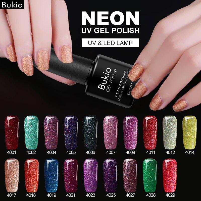 Bukio Varnish Glitter-Gel Nail-Polish Lucky-Colors Semi-Permanent Uv-Gel Neon Long-Lasting