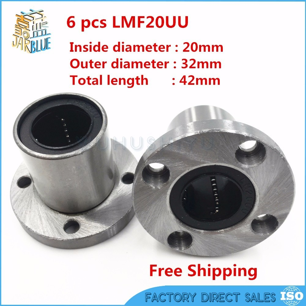 6Pcs/Lot LMF20UU 20mm Round Flange Linear Motion Bearing Bushing Ball Bearing CNC Parts Brand New lmh20luu 20mm inner dia oval flange mounted linear motion bushing ball bearing