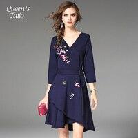 Dark Blue Elegant Ladies Autumn Knee Length Dress Autumn Winter V Neck Embroidered Rirregular Party Dress