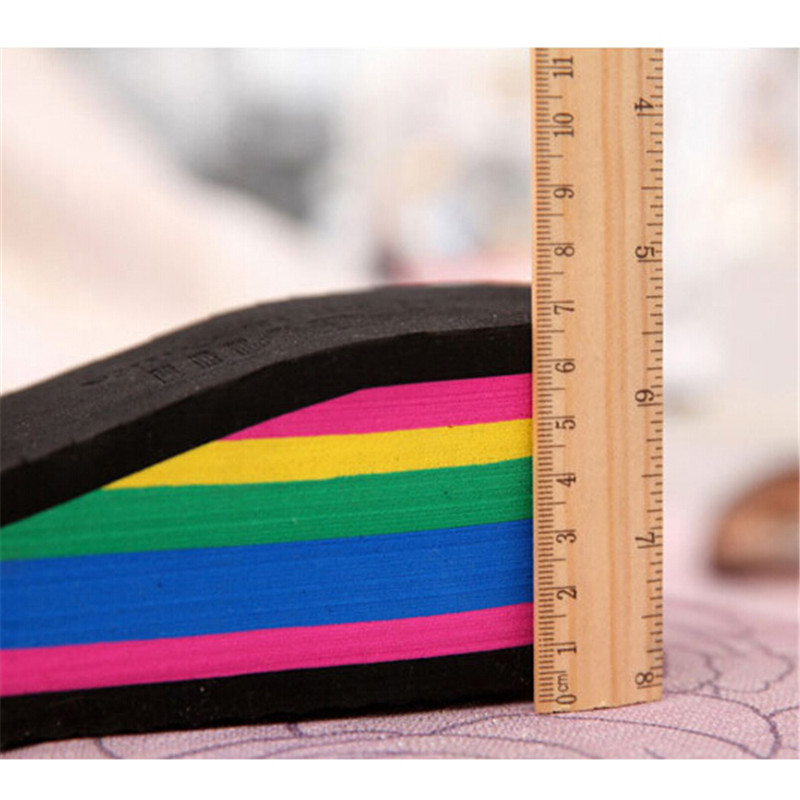 Summer Women Sandals Wedges 2017 Platform Slippers Rainbow Thick Heel Ladies Shoes Women Shoes Beach