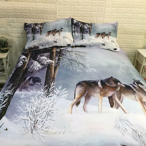 Image 4 - Snow Wolf Duvet Cover Bedding Set Bed Sheet Twin Full Queen King Size 3PCS