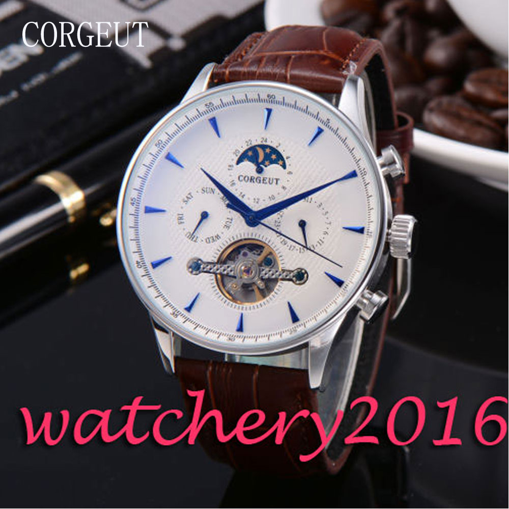 Luxury Corgeut 44mm Moon Phase White Dial Blue Hands day date Automatic movement men's Watch