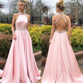 332894944 Rosa de cristal de satén vestido de noche fiesta nueva mujer elegante  gótico longitud piso de boda dulce sedoso vestido sin espalda Sexy vestidos