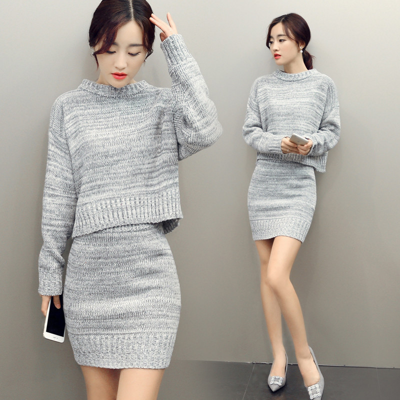2016 Women Sweater And Skirt Set Spring Autumn Tops+Short Skirts Two Piece Set Long Sleeve Knitted Suit Twinset Women Clothing