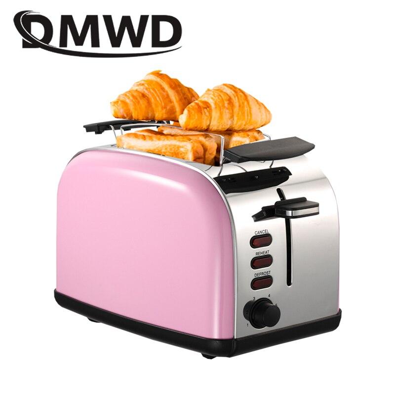 DMWD Toaster British retro grain stainless steel liner Household automatic bread baking Breakfast maker Heating oven 220-240V Тостер