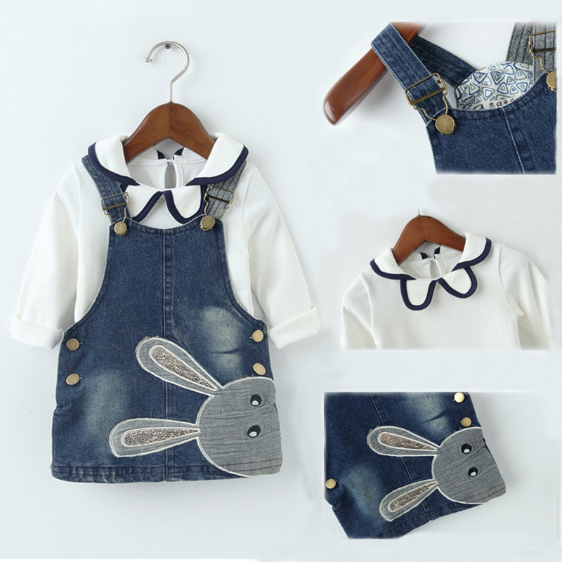 2PCS Baby Girls Jeans Dress+T-Shirt Sets for 1-3Y Kids Fashion Cartoon Rabbit Denim Straps Overalls Adjustable Girl Clothes Sets bibicola cartoon children jeans dress baby girls cotton leisure overalls dress fashion toddler girl denim dress for summer