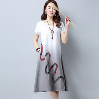 2018 New Fashion Gradient Color Women Summer Dress Soft Cotton Linen Loose Casual Dress Vintage Party Vestidos Dresses FP0707
