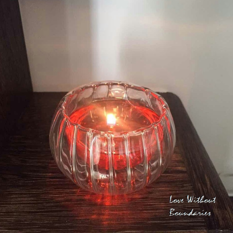 Romantisk flammegave, unik drømmebrann, Crystal gresskarlys, kopp i - Hjemmedekorasjon