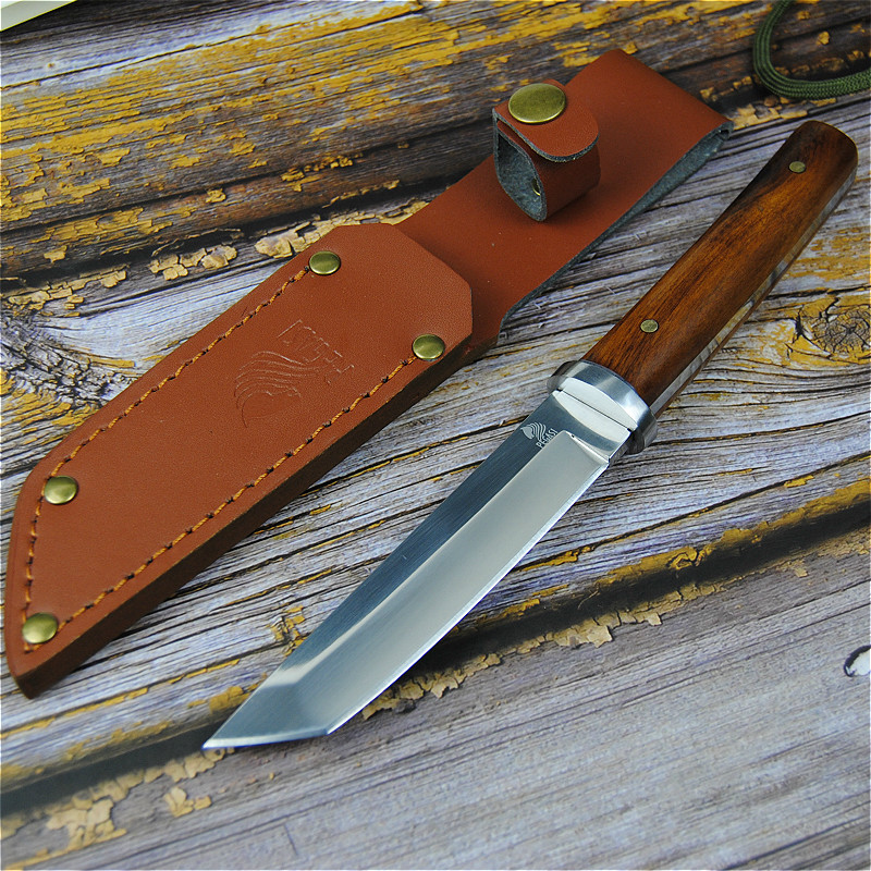 Image 2 - PEGASI Japanese 9CR18MOV outdoor self defence fishing knife jungle hunting knife outdoor sharp tactical knife + leather cover-in Knives from Tools