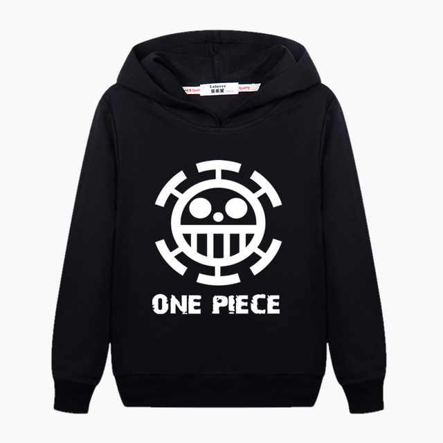 f86623a70 Boy's black plus velvet Hoodie One Piece Logo Anime Sweater Kid Winter  Thick Cotton Sweatshirt Cartoon Print Pullover Clothes
