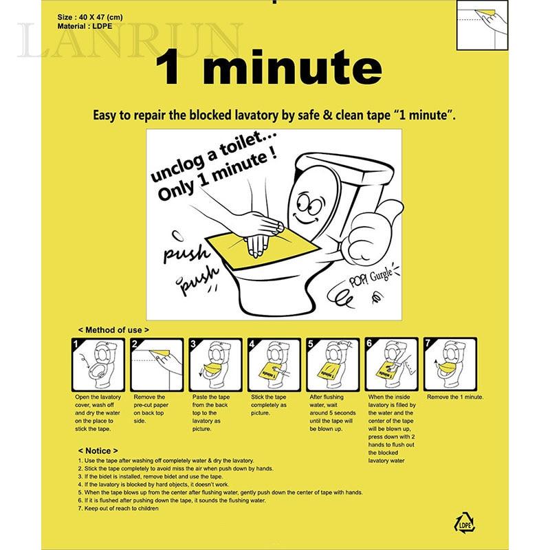 1PC / Set toaletní bagr Odstraňujte toaletu pouze 1 minutu Jednoduchá fixace ucpaného WC s bezpečným a čistým filmovým plunžrem