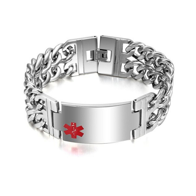 Quality Personalized Medical Id Alert Men Stainless Steel Tags Bracelet Engraved Bangle Jewelry Dad S Gift