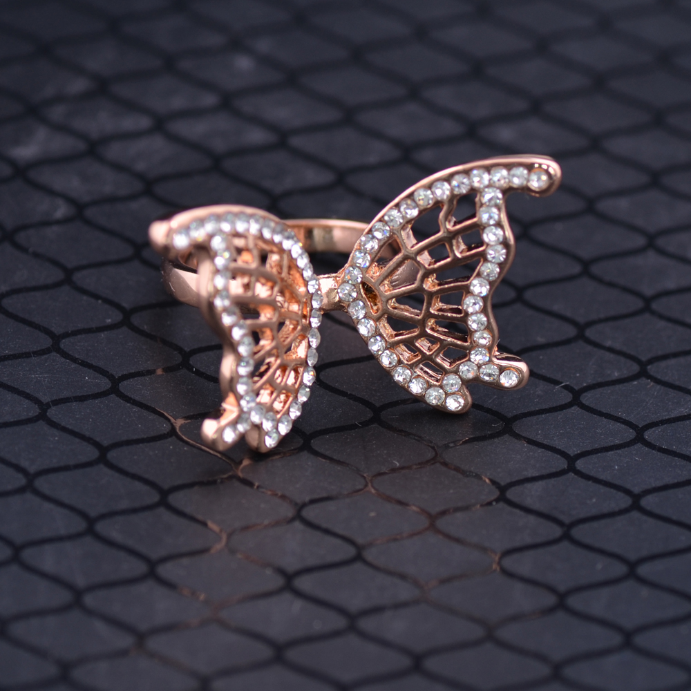 Fashion Butterfly Rings Rose Gold color Full Crystal Hollow Out Wings Top Quality Fadeless Anti-allergy Women Rings J00669